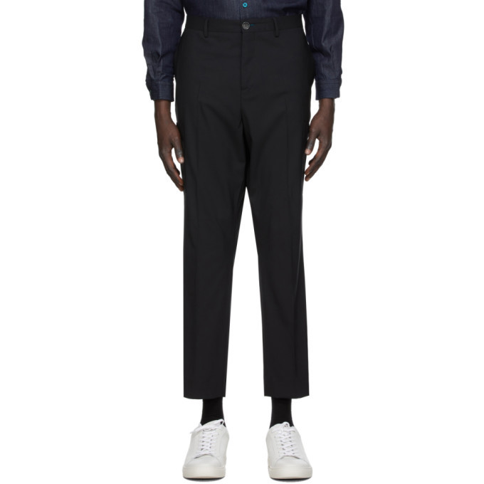 Photo: PS by Paul Smith Navy Plaid Trousers