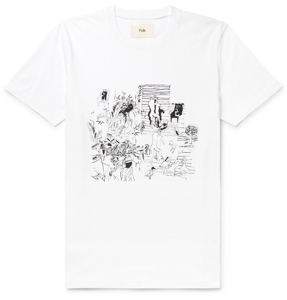 Photo: Folk - Printed Cotton-Jersey T-Shirt - White