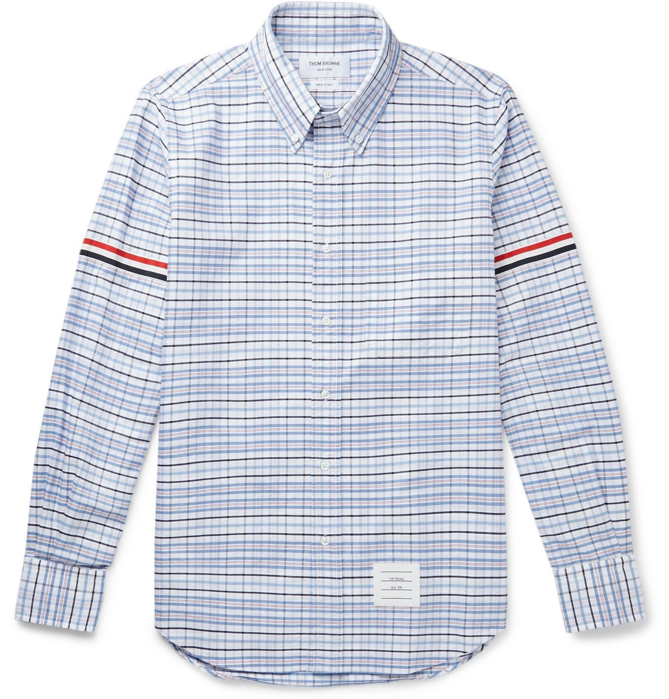 Photo: Thom Browne - Button-Down Collar Appliquéd Grosgrain-Trimmed Checked Supima Cotton Oxford Shirt - Blue