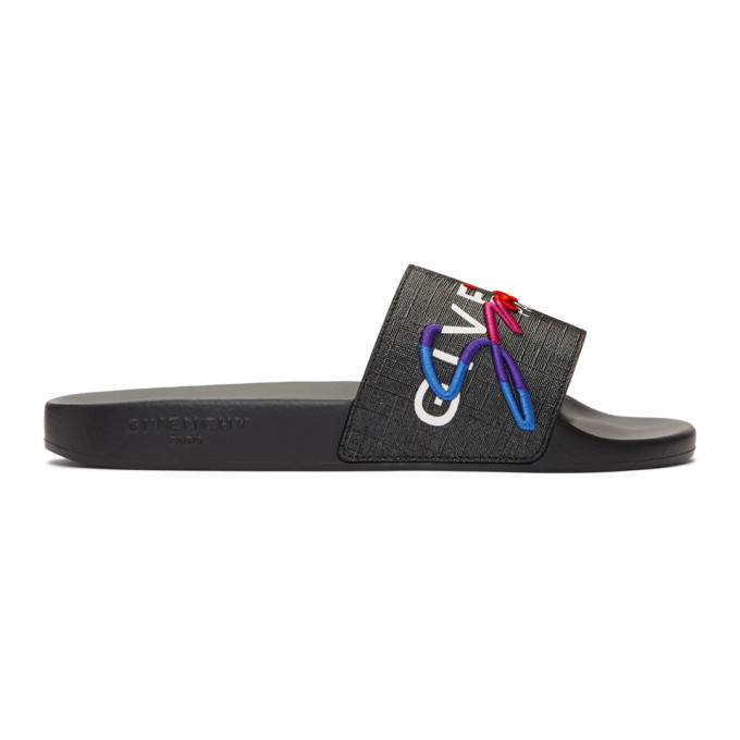 Photo: Givenchy Black and Multicolor Logo Slides