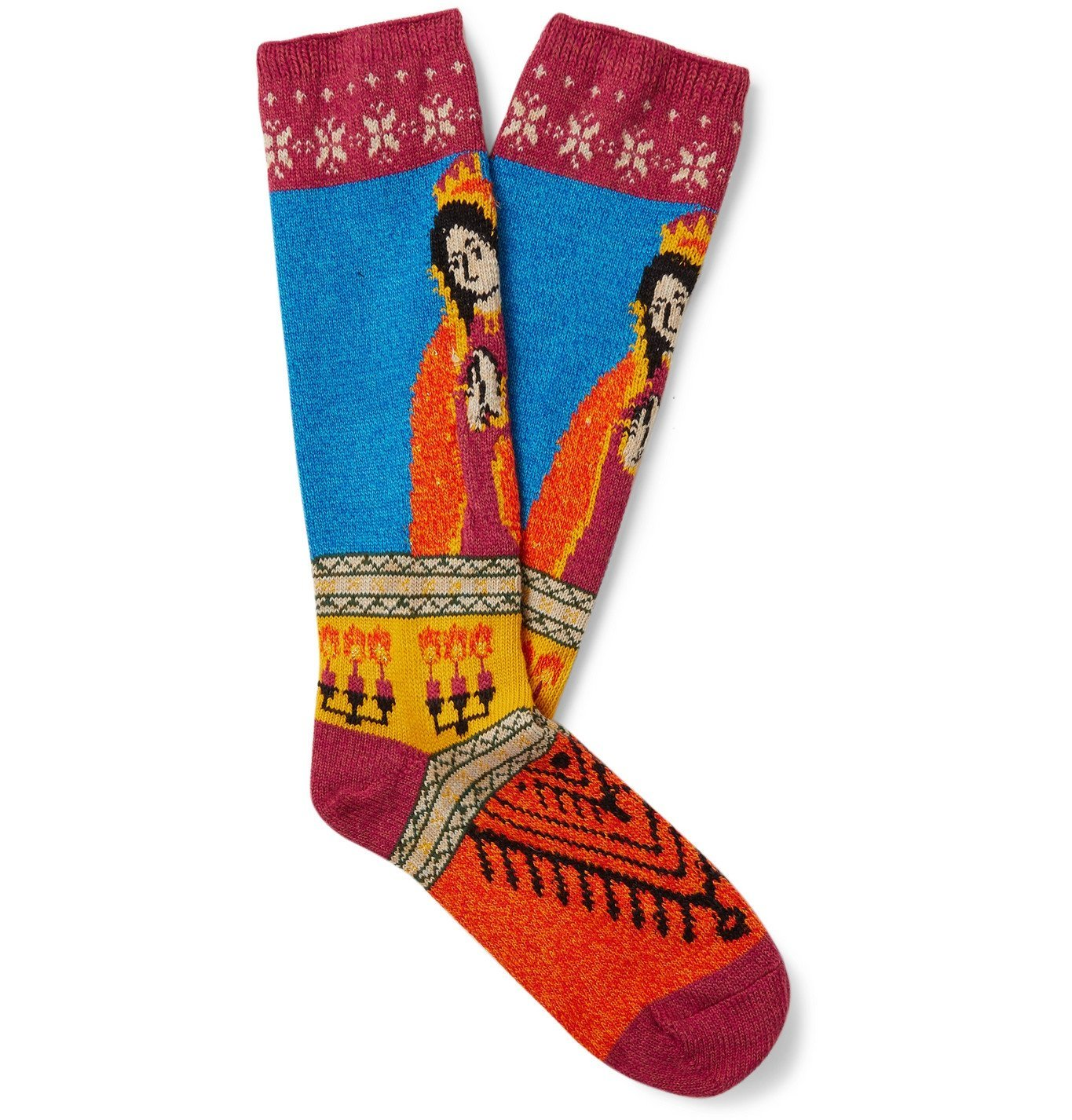 Photo: KAPITAL - Maria Intarsia Cotton-Blend Socks - Multi