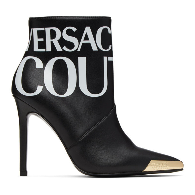 Photo: Versace Jeans Couture Black Logo Ankle Boots