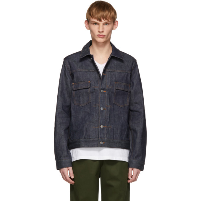 Photo: A.P.C. Indigo Raw Denim Work Jacket