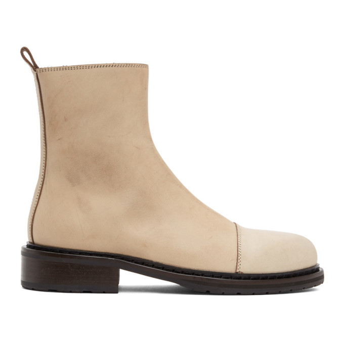 Photo: Ann Demeulemeester Beige Leather Zip-Up Boots