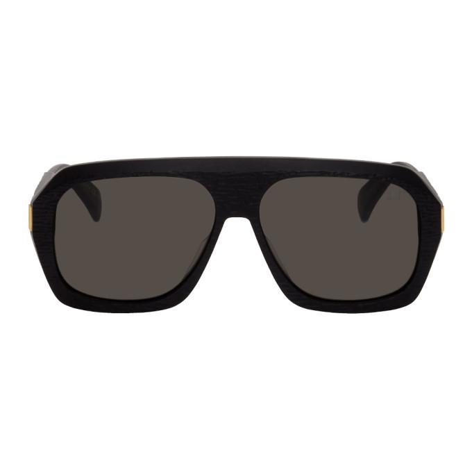 Dunhill Black Matte Rectangular Ferry Sunglasses