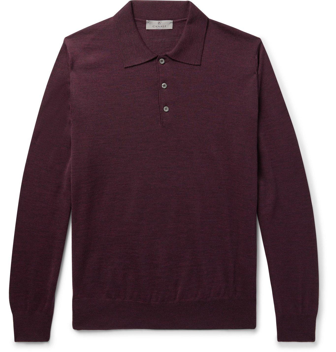 Photo: Canali - Slim-Fit Mélange Merino Wool Polo Shirt - Purple