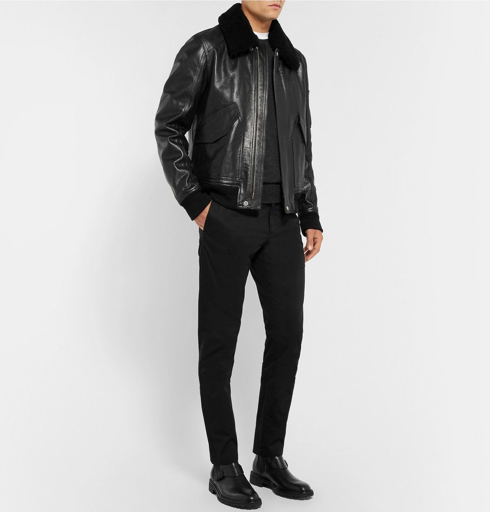 4e692e046e1 Belstaff - Arne Shearling-Trimmed Leather Bomber Jacket - Men - Black