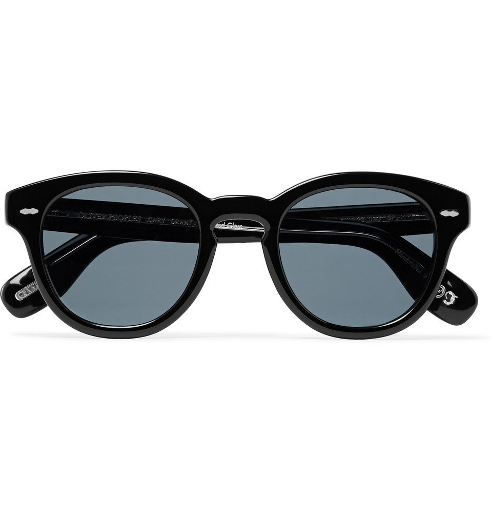 Photo: Oliver Peoples - Cary Grant Round-Frame Acetate Polarised Sunglasses - Black