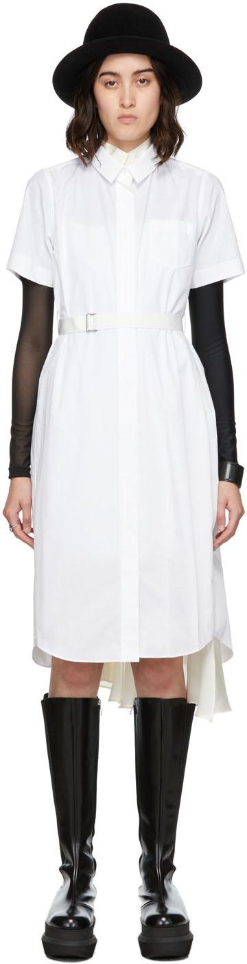 Sacai White Cotton Poplin & Satin Dress