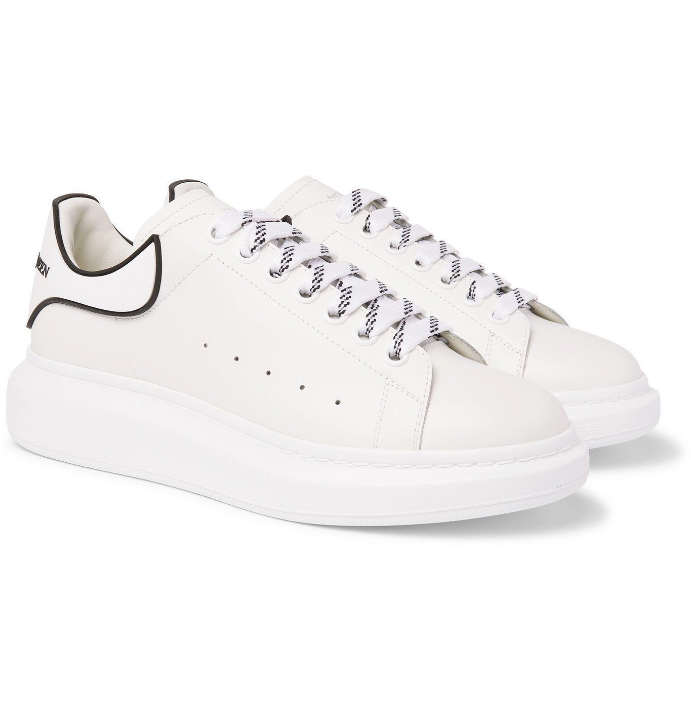 Photo: Alexander McQueen - Exaggerated-Sole Rubber-Trimmed Leather Sneakers - White