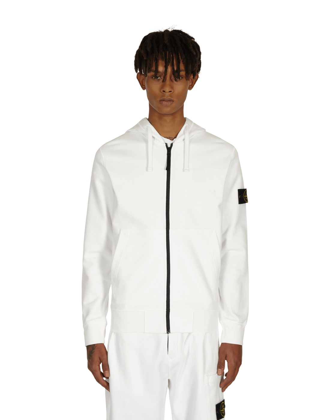 Stone Island Basic Zip Hooded Sweatshirt White