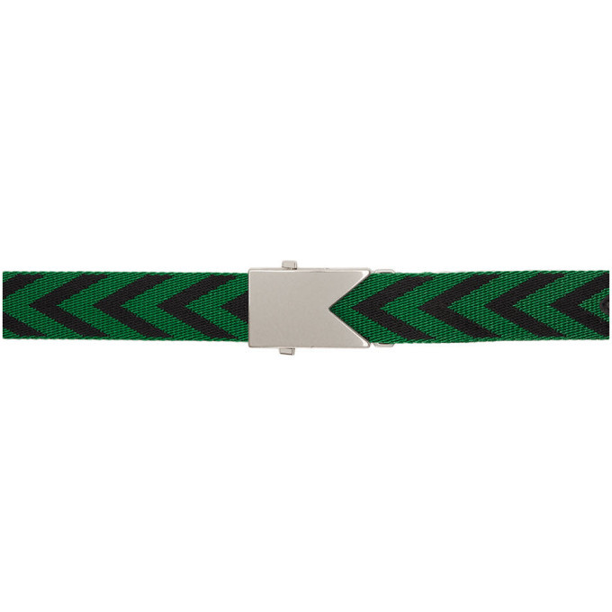 Photo: Bottega Veneta Green and Black Arrows Webbing Belt