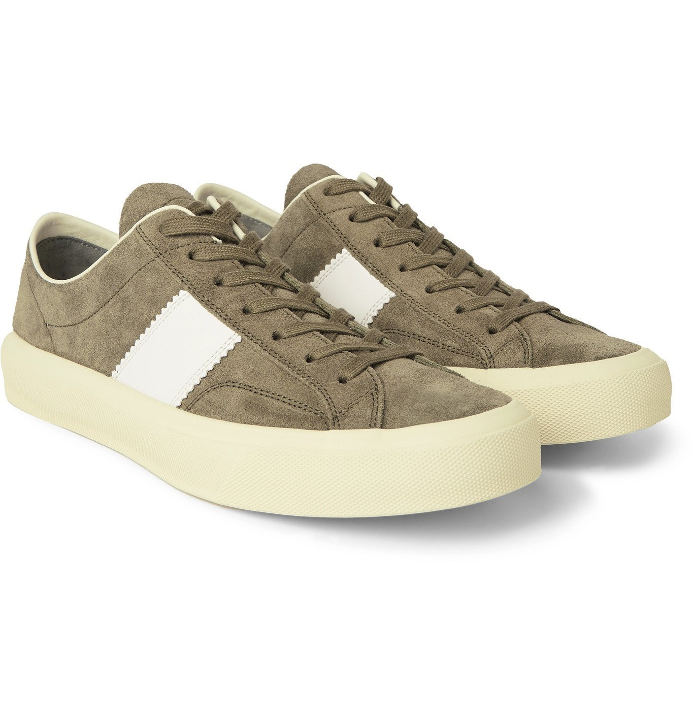 Photo: TOM FORD - Cambridge Leather-Trimmed Suede Sneakers - Green
