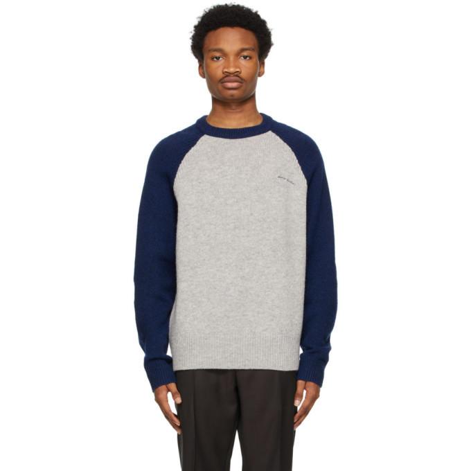 Photo: Acne Studios Grey and Navy Raglan Crewneck Sweater