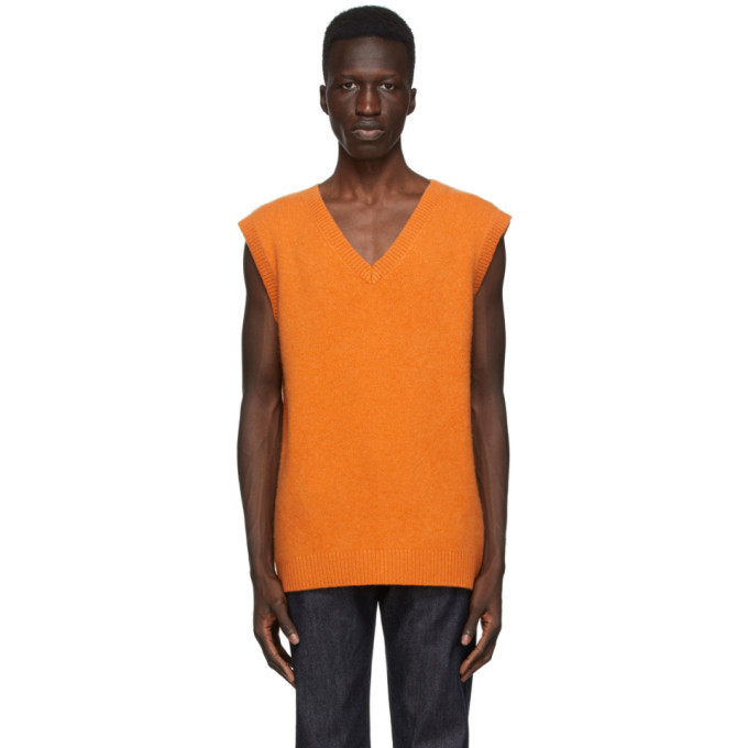 Photo: The Elder Statesman SSENSE Exclusive Orange Heavy Vest
