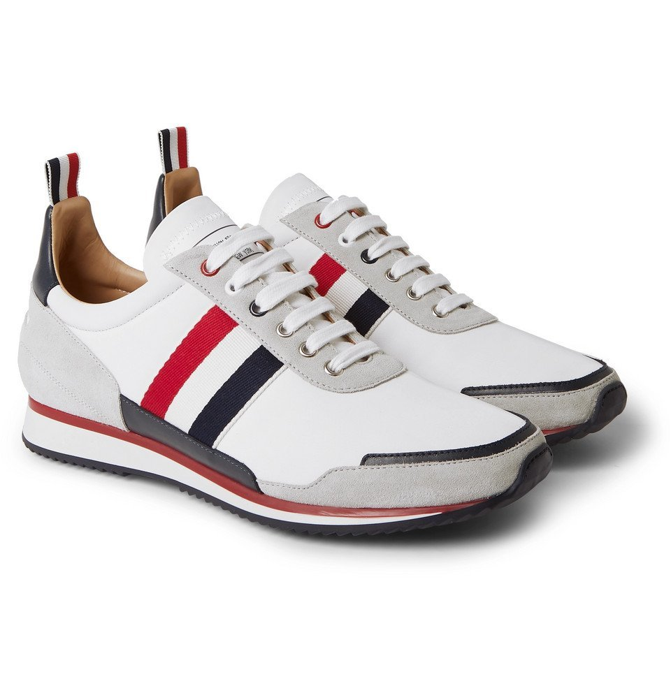 Photo: Thom Browne - Grosgrain and Suede-Trimmed Nylon Sneakers - White