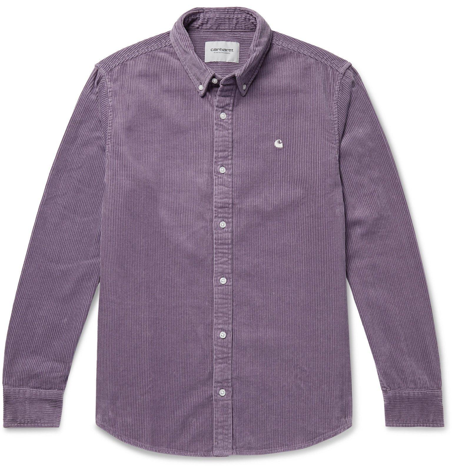 Photo: Carhartt WIP - Madison Button-Down Collar Cotton-Corduroy Shirt - Purple