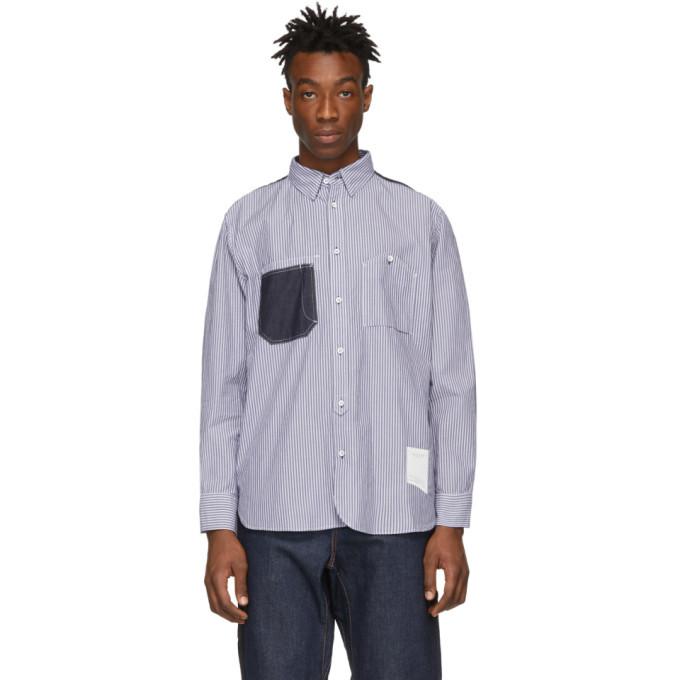 Photo: rag and bone White and Blue Levine Shirt