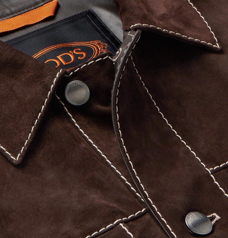 Tod's - Slim-Fit Suede Trucker Jacket - Brown