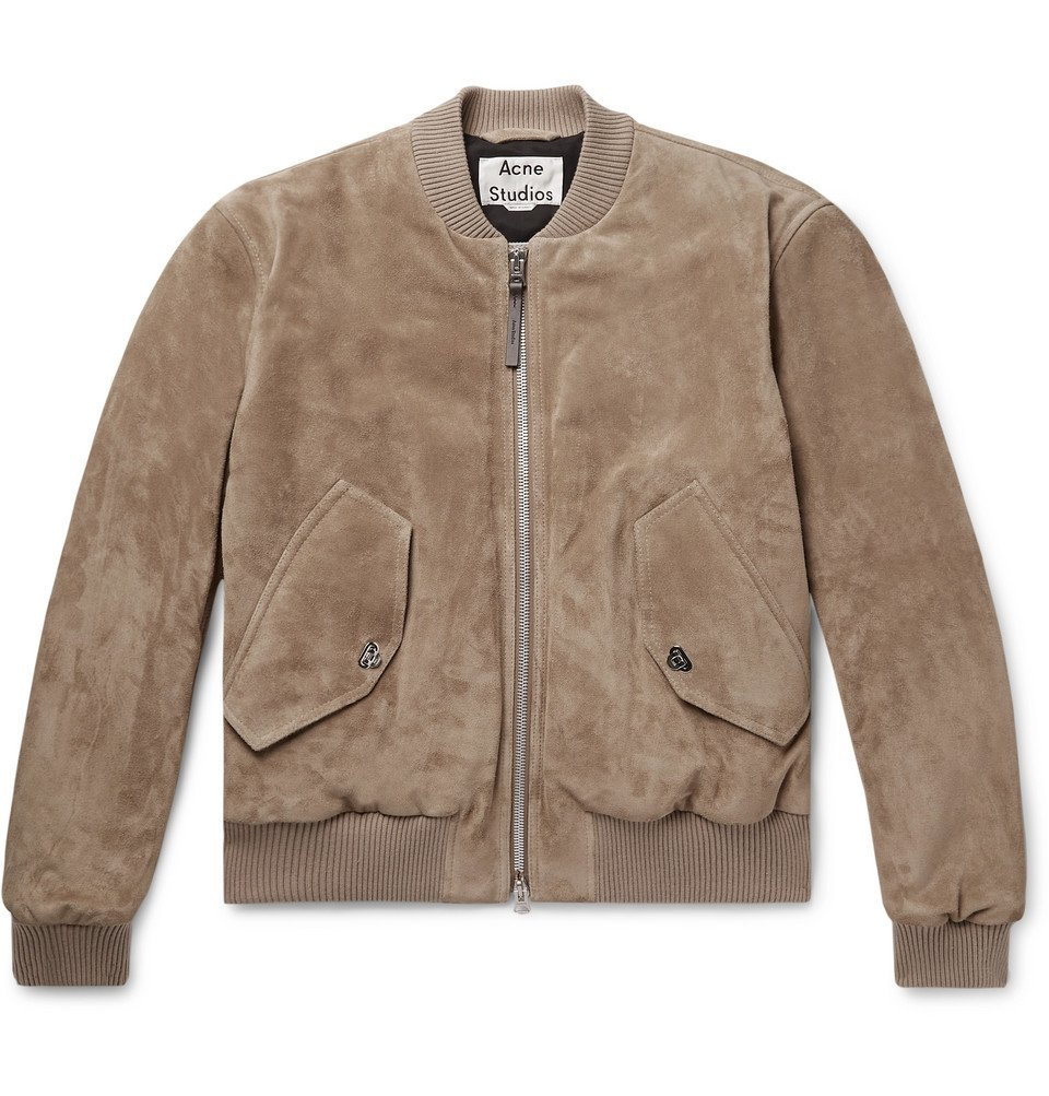 Photo: Acne Studios - Faux Leather and Cotton Corduroy-Trimmed Suede Bomber Jacket - Beige