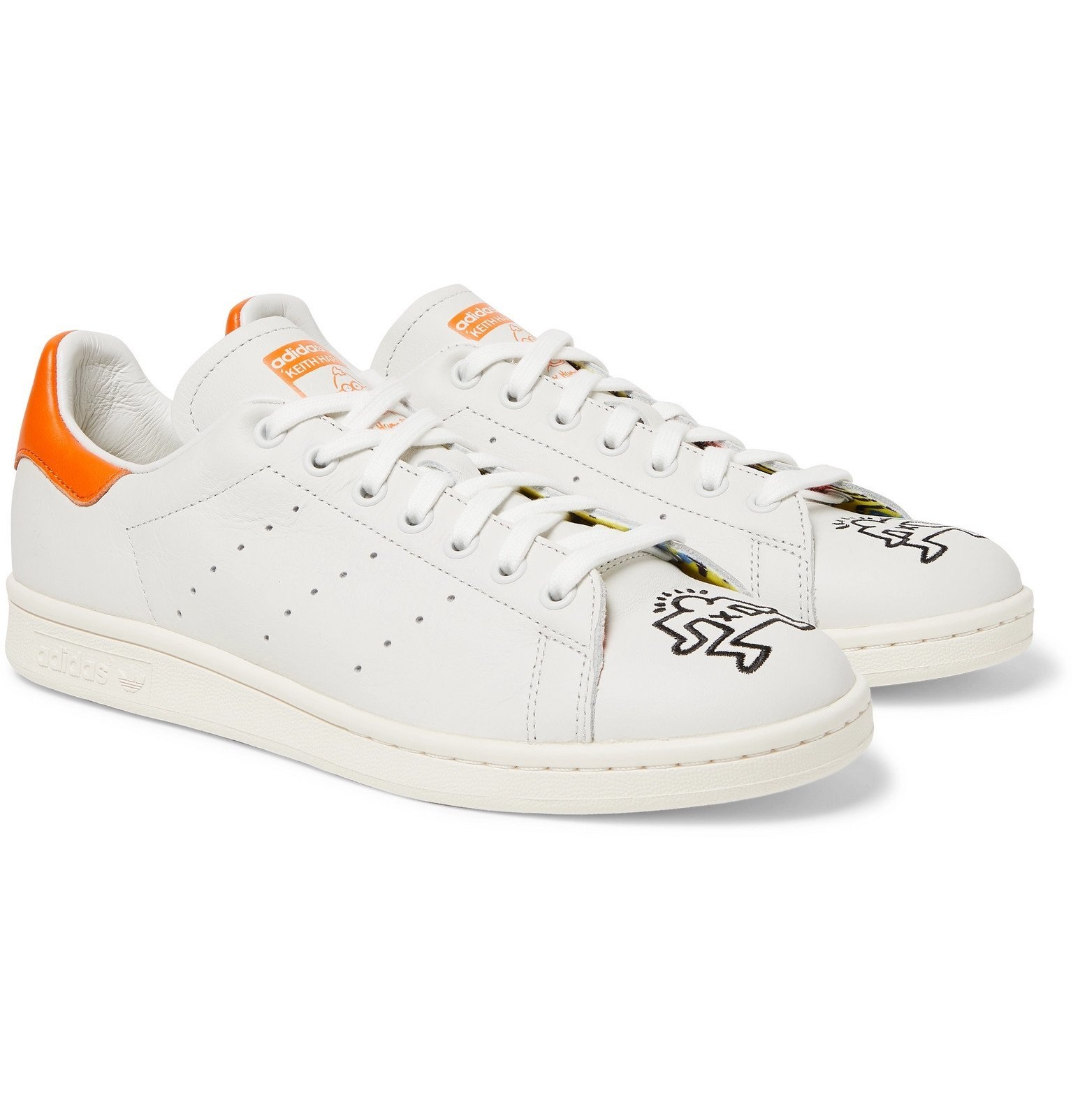 Photo: adidas Originals - Keith Haring Stan Smith Embroidered Leather Sneakers - Off-white