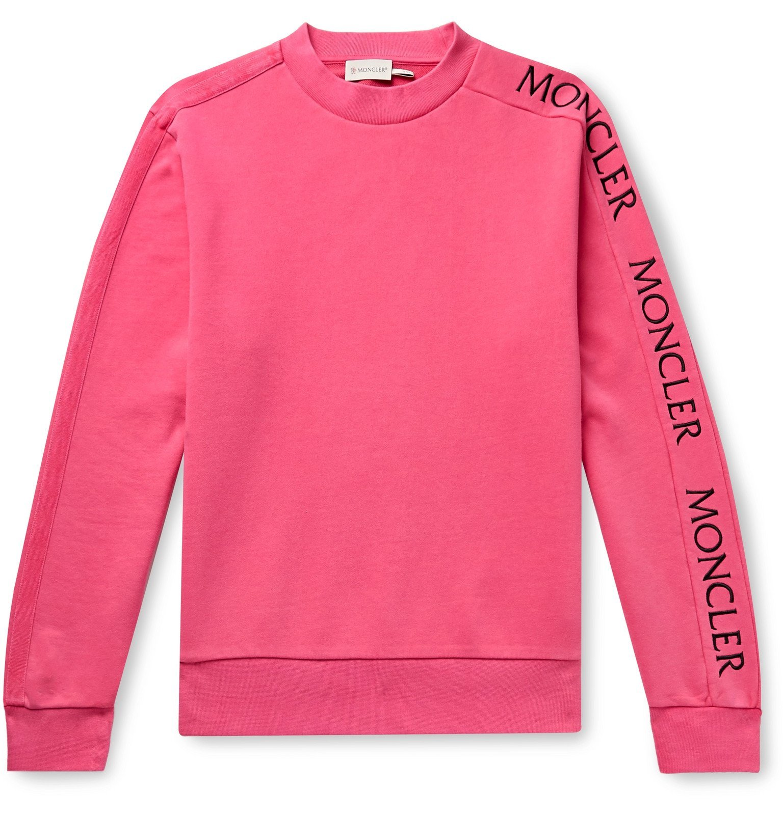 Photo: Moncler - Slim-Fit Logo-Embroidered Loopback Cotton-Jersey Sweatshirt - Pink