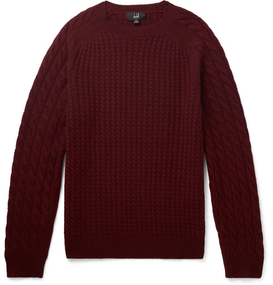 Dunhill - Cable-Knit Cashmere Sweater - Men - Burgundy