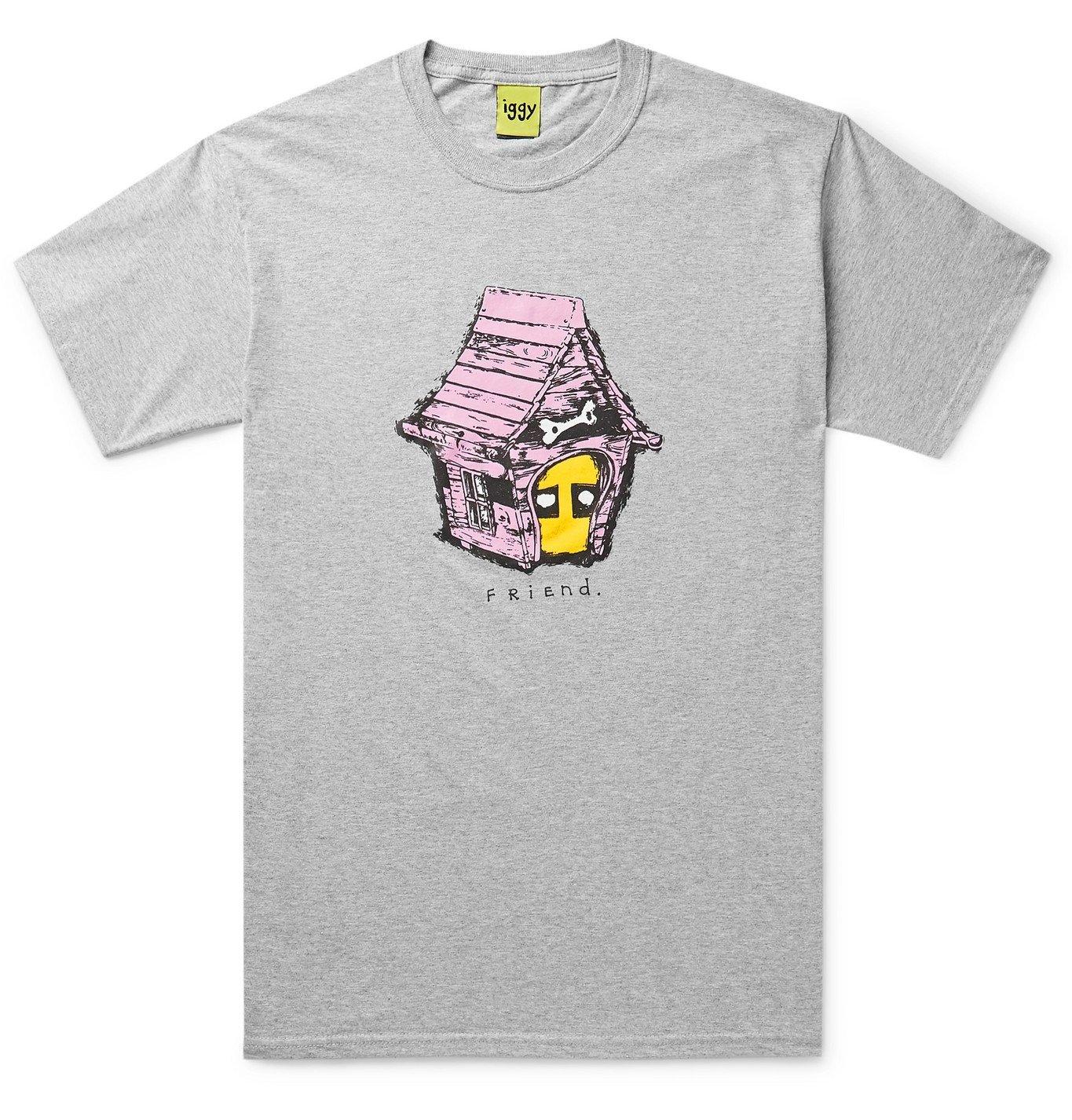 Photo: iggy - Printed Mélange Cotton-Blend Jersey T-Shirt - Gray