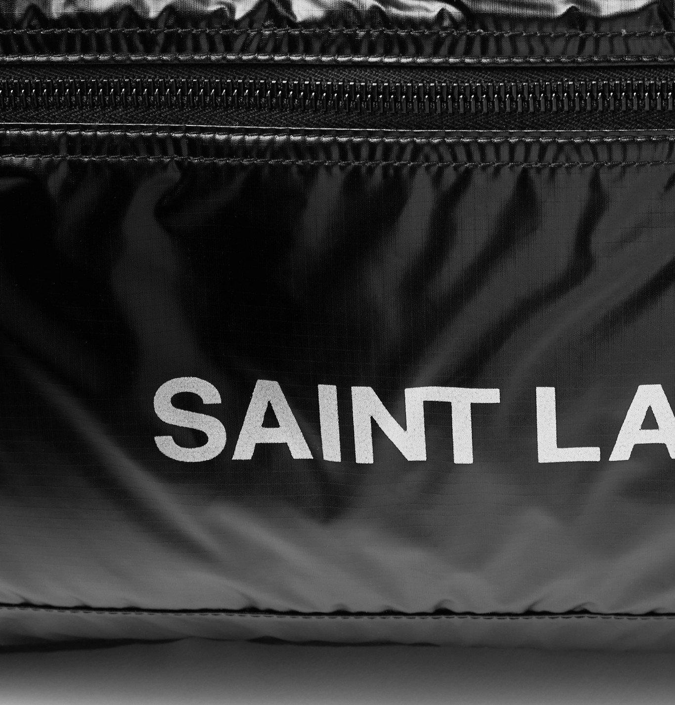 SAINT LAURENT - Logo-Print Glossed-Nylon Duffle Bag - Black