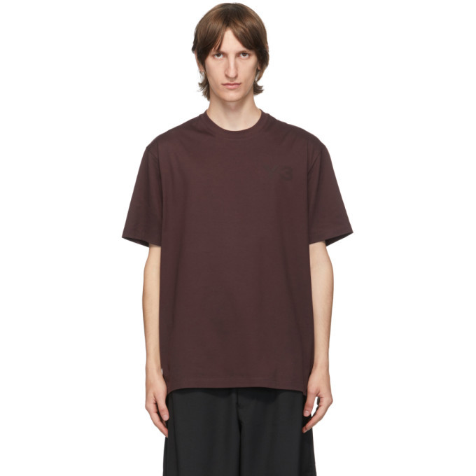 Photo: Y-3 Burgundy Classic Logo T-Shirt