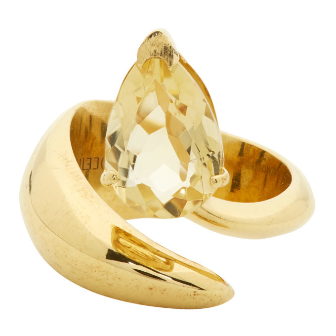 Photo: Alan Crocetti SSENSE Exclusive Gold and Yellow Citrine Alien Ring