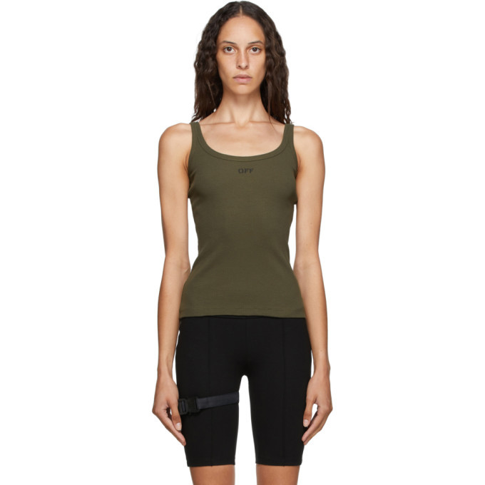 Photo: Off-White Khaki Open-Back Tank Top