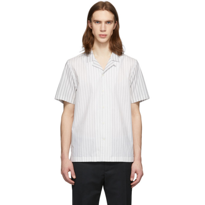 Wood Wood Off-White Striped Brandon Short Sleeve Shirt