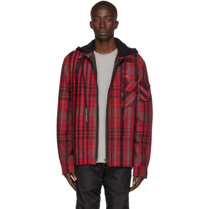 Photo: Off-White Red and Black Padded Hoodie Shirt