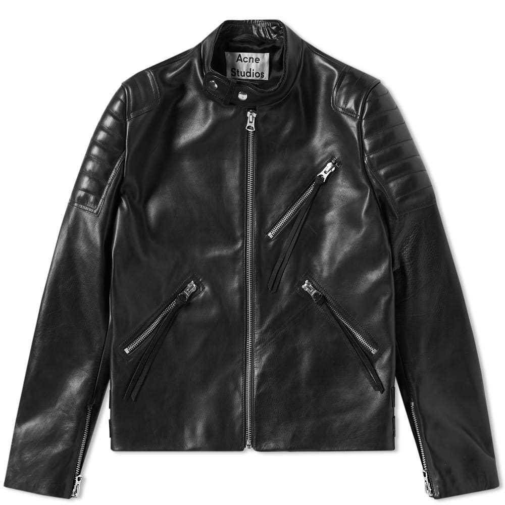Acne Studios Oliver Chevron Leather Jacket Black
