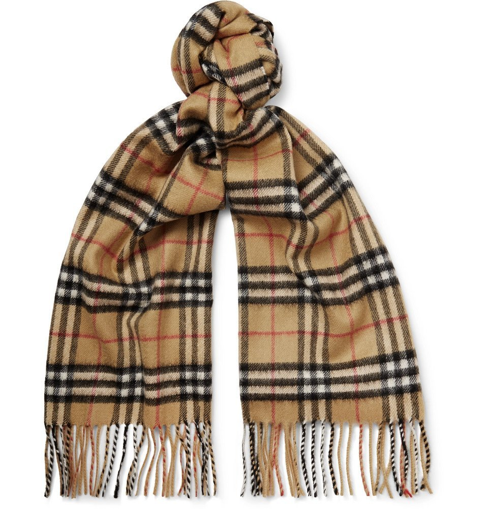 Photo: Burberry - Fringed Checked Cashmere Scarf - Men - Tan