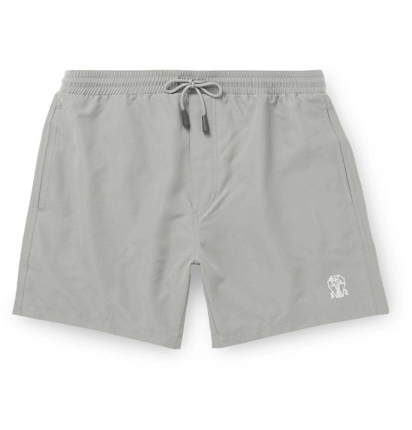 Photo: Brunello Cucinelli - Mid-Length Logo-Print Swim Shorts - Gray