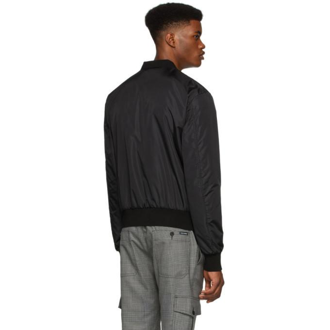 Dolce and Gabbana Black Logo Plaque Bomber Jacket