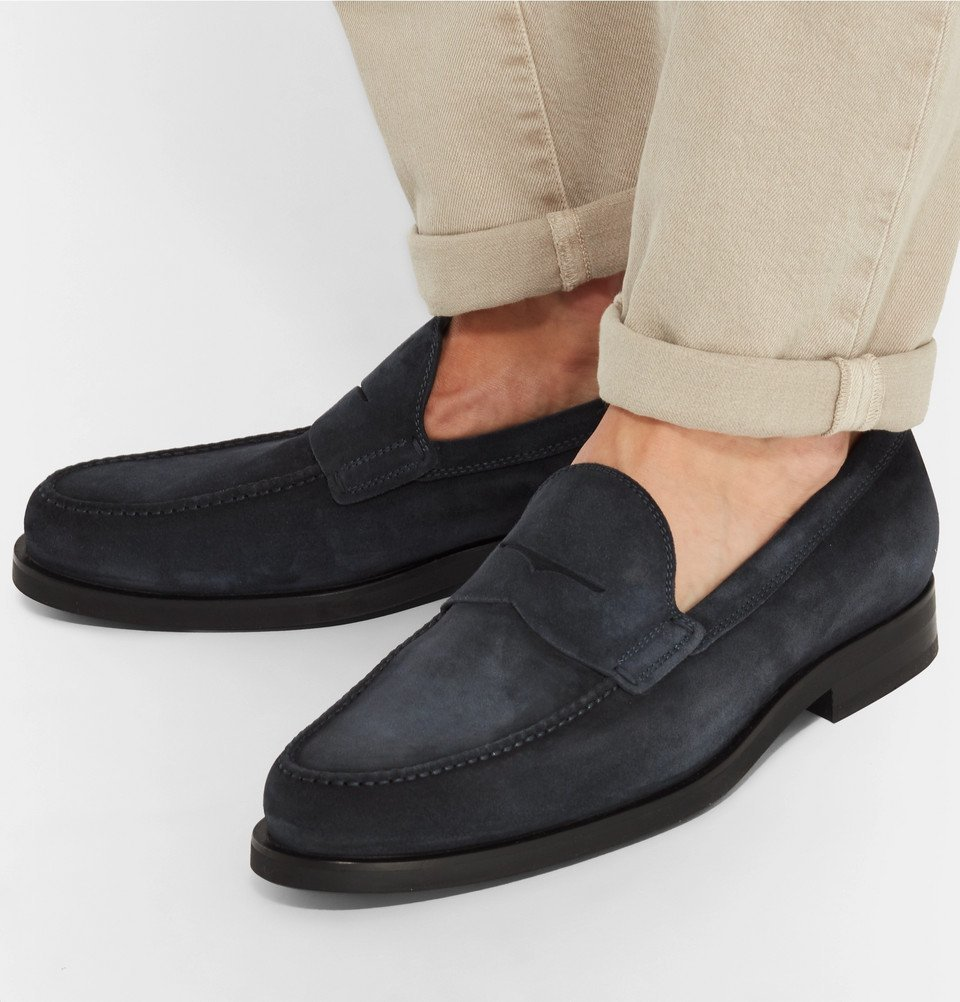 Tod's - Suede Penny Loafers - Navy
