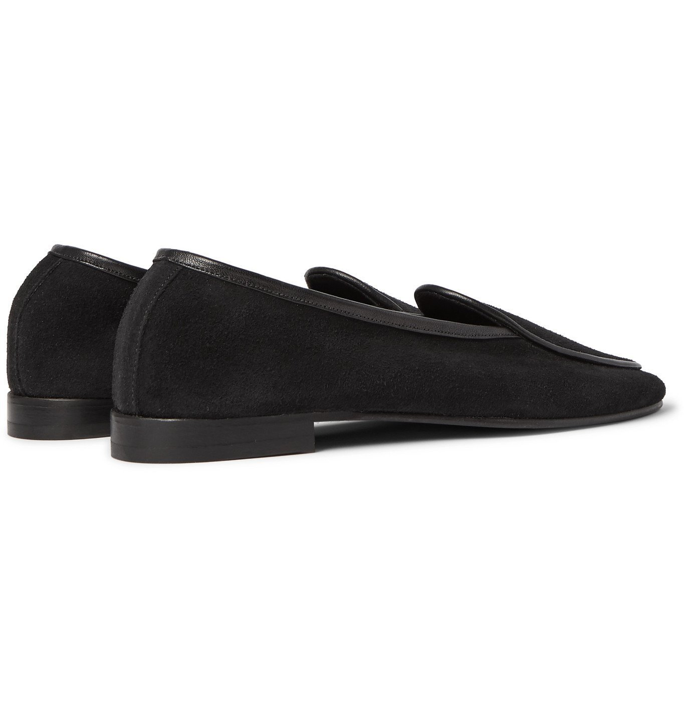 George Cleverley - Hampton Leather-Trimmed Suede Loafers - Black