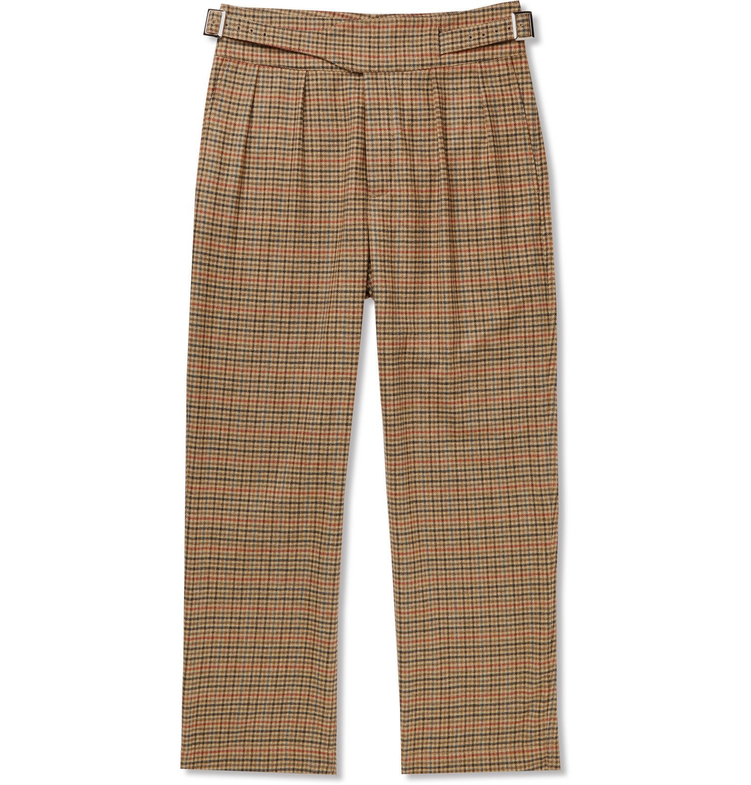 Photo: Noah - Pleated Checked Wool and Cashmere-Blend Trousers - Brown