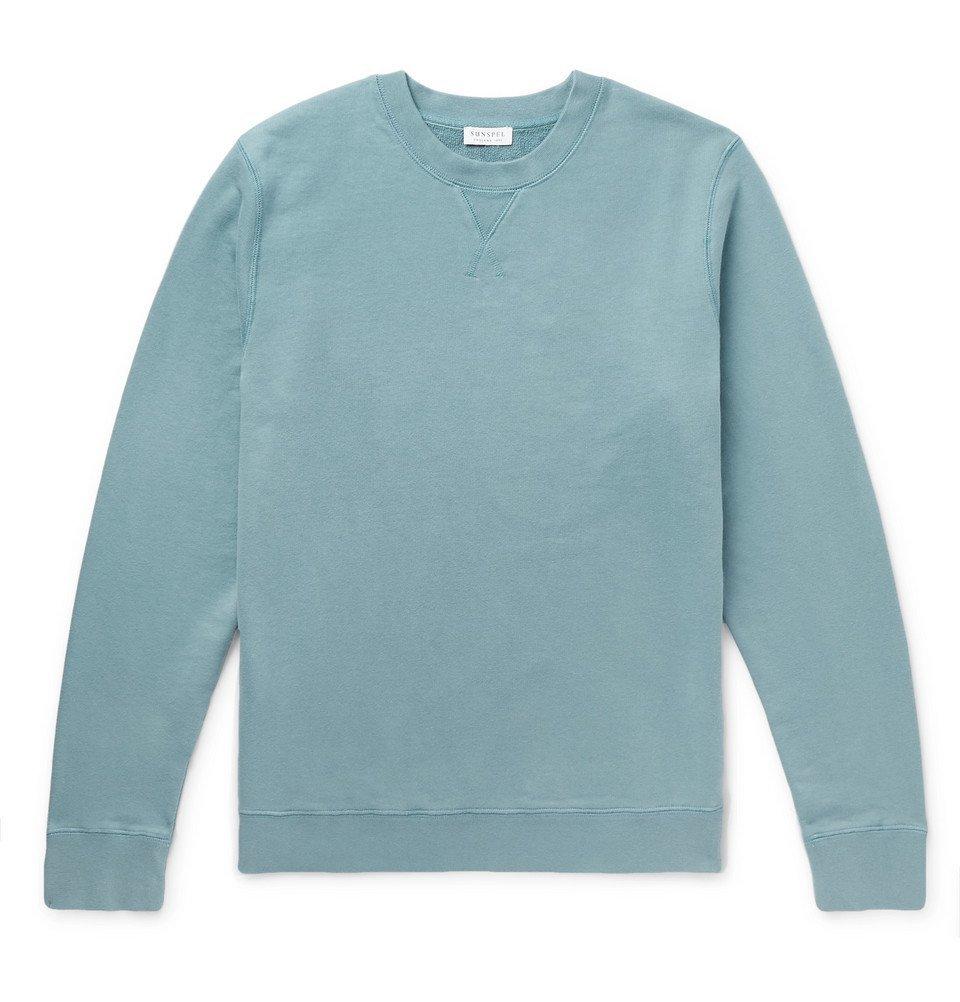 Sunspel - Loopback Cotton-Jersey Sweatshirt - Blue