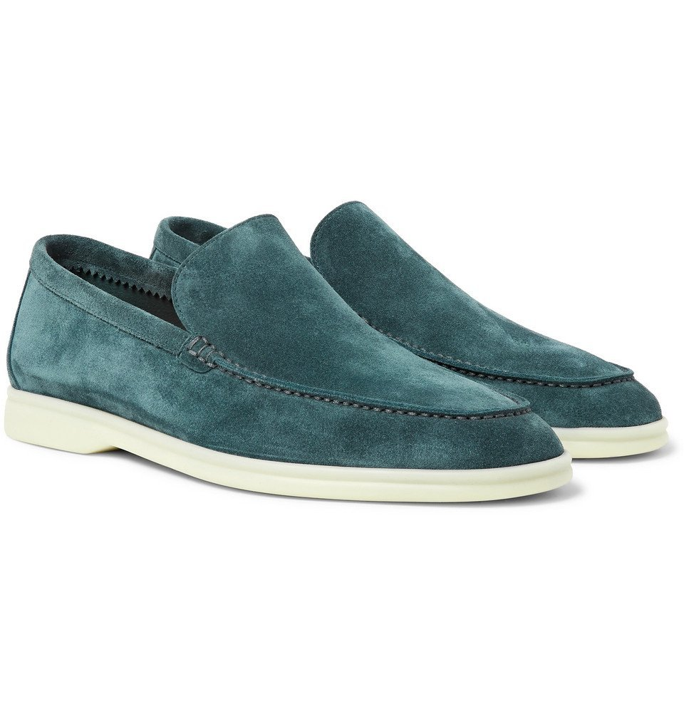 Photo: Loro Piana - Summer Walk Suede Loafers - Light blue