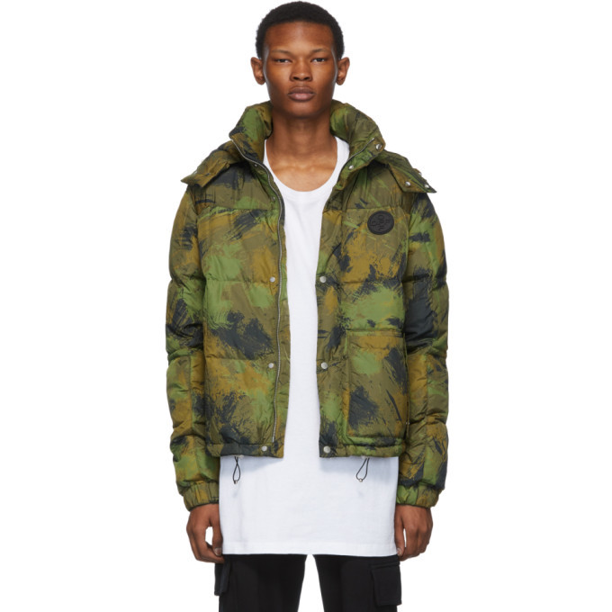 Photo: Off-White Green Down Paintbrush Camouflage Jacket