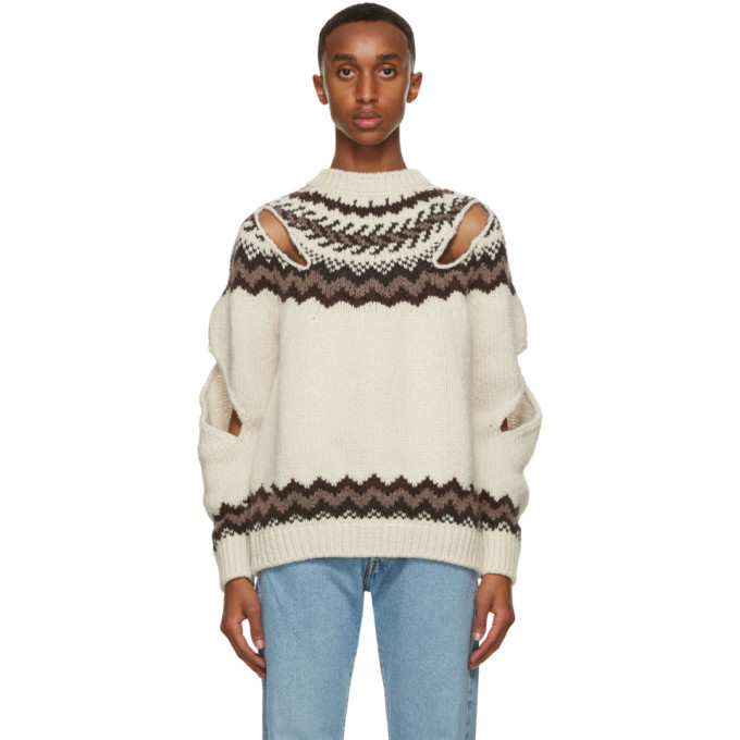 Photo: Stefan Cooke Off-White and Brown Wool Slashed Sweater