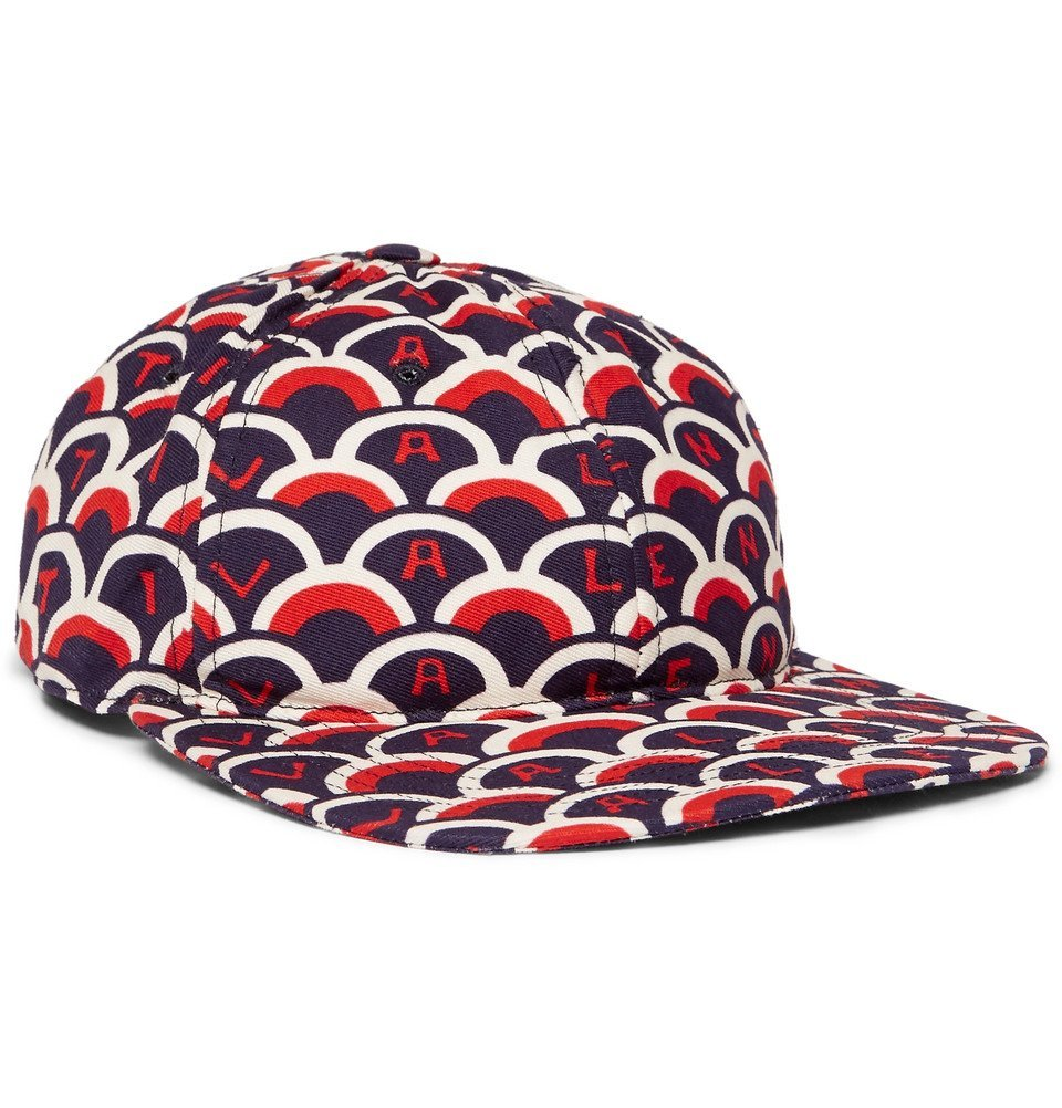 Photo: Valentino - Printed Cotton-Twill Baseball Cap - Navy