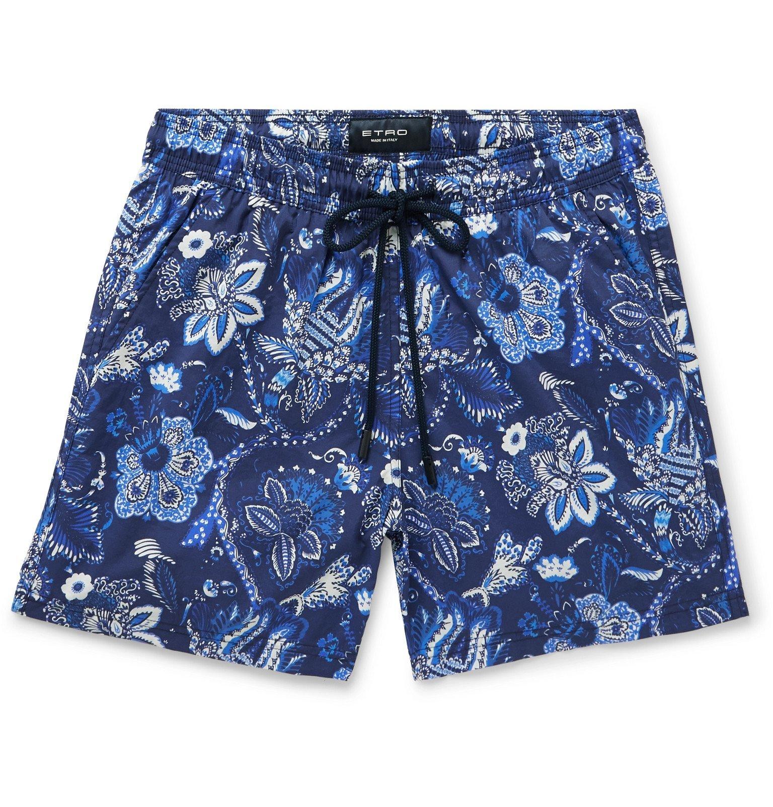 Photo: Etro - Mid-Length Floral-Print Swim Shorts - Blue