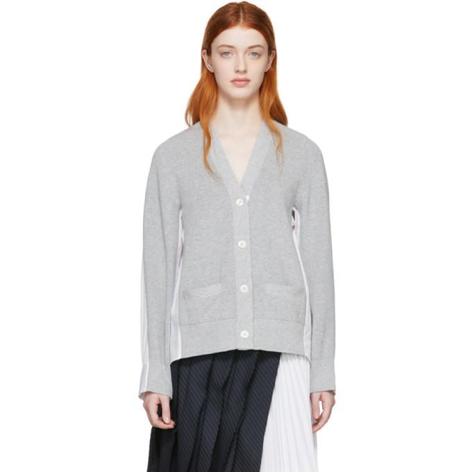 Sacai Grey and White Panelled Cardigan