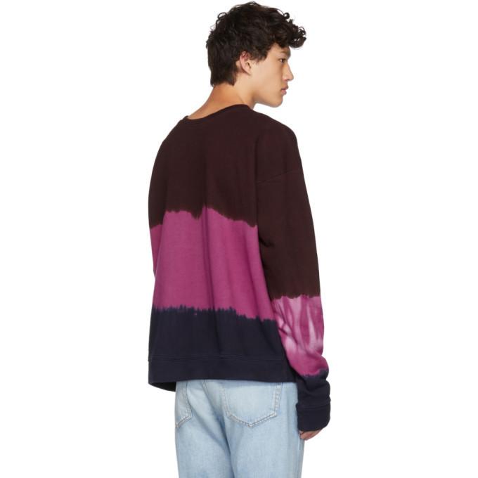 The Elder Statesman Multicolor Dip Dyed Fleece Sweatshirt