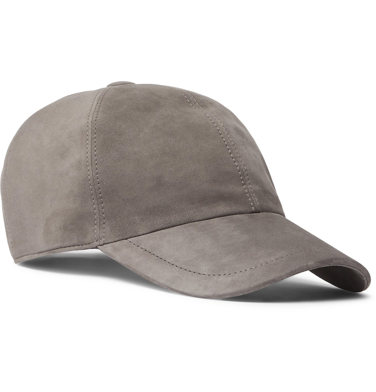 Photo: Brunello Cucinelli - Leather-Trimmed Suede Baseball Cap - Gray